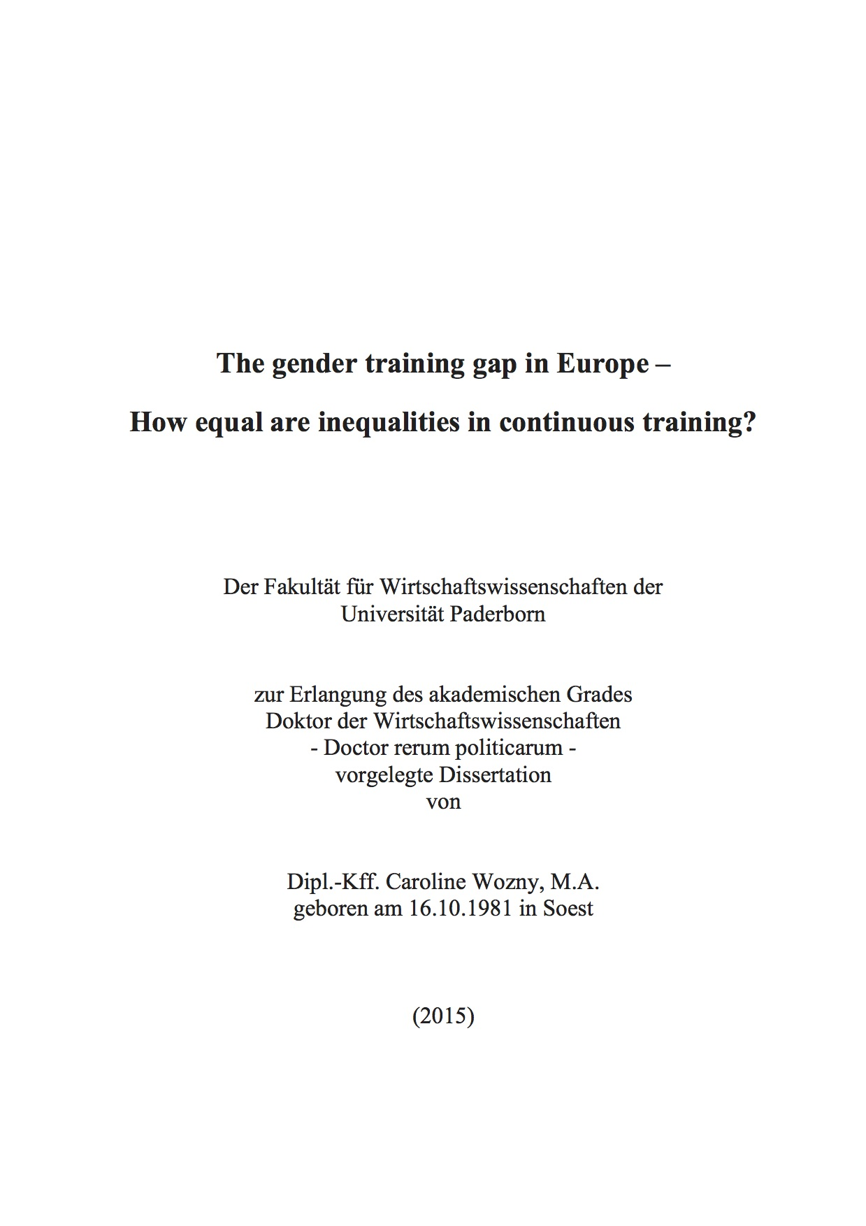 Wozny_2015_The Gender Training Gap in Europe